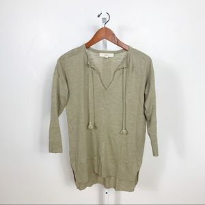 Loft Brushed Olive High Low Knit Popover Tunic